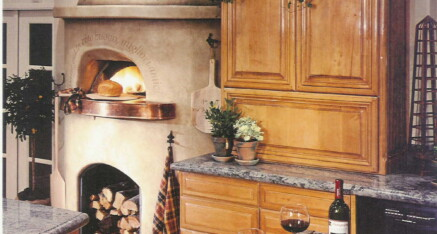 Kitchen with pizza oven in La Jolla
