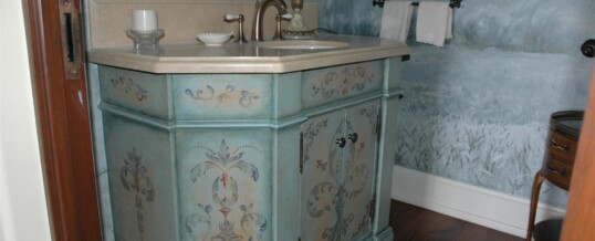 Painted powder room