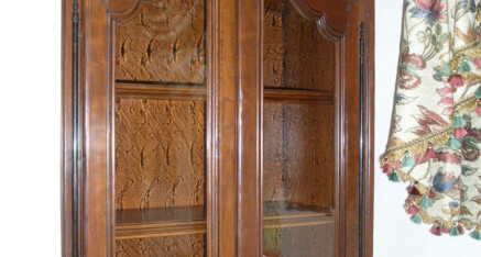 Carved bath cabinet in Rancho Santa Fe